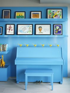 Adam Rolston, Gabriel Benroth, Drew Stuart, New York,Bohemian living room in bright blue, piano  included