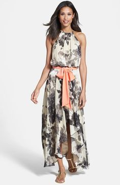 Eliza J Floral Print Chiffon High/Low Dress at Nordstrom.com. A goldtone chain suspends wispy floral-print chiffon into the pleated, shoulder-baring bodice, inset waist and rippling high/low skirt of a lush maxi dress. A contrast sash ties to a lavish bow to accentuate the feminine design.