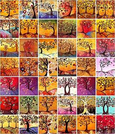 It's all in French, but if you know even a little bit of French you will be able to understand her captions. Lovely Klimt-like trees! By Natasha Wescoat Klimt, Art Fantaisiste, Ecole Art, Collaborative Art, Arts Ed, Autumn Art, Autumn Trees, Artist Trading Cards, Whimsical Art