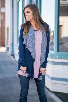 This cardigan is one of my favorites, but I don't think that pink shirt matches very well.