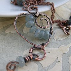 "Hammered Copper ""Denim Heart"" necklace by Katalina Jewelry"