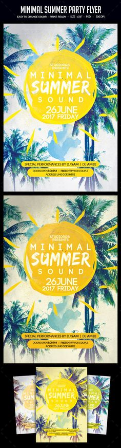 Minimal Summer Party Flyer Template PSD