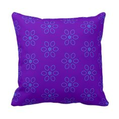 Pattern 55 Throw Pillow - Fun colorful abstract repeating floral pattern throw pillow