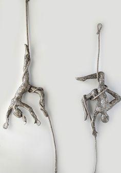 Climbing man sculpture, metal wire mesh wall art, Hanging sculpture, Modern metal art