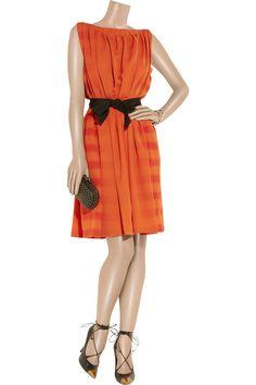 Bottega Veneta Belted striped silk dress