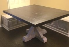 Custom Pine Pedestal Table and Banquette