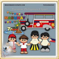 Vacation Philippines Clipart by MagicmakerScraps on Etsy Paper Piecing, Fiesta Theme Party, Calendar Stickers, Checkbook Cover, Mural Wall Art, Thinking Day, Web Banner, Blog Design, Hang Tags