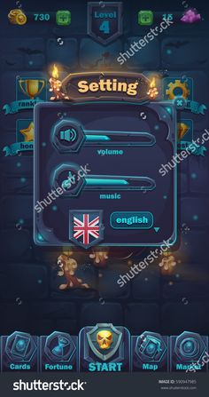 Monster battle GUI setting volume window - vector cartoon illustration game user interface - background horrible Halloween wall
