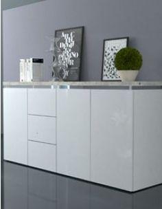 Buffet blanc laqué et couleur ciment design BOTINO Master Bedroom Design, Buffets, Decoration, Armoire, Cabinet, Storage, Furniture, Home Decor, Sideboard