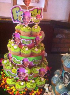 party Id make a cupcake tower like this, but the toppers would be all different celebrities and/or cartoon characters Prince Birthday Party, Prince Party, 30th Birthday Parties, Birthday Party Themes, Birthday Ideas, Birthday Cupcakes, Birthday Quotes, Birthday Gifts, Happy Birthday