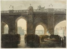 A moment in time... Old London Bridge, c1794 after it was stripped of its houses, by Joseph Mallord William Turner.