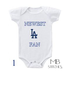 50c2407c Newest Fan Los Angeles Dodgers Baby Embroidered by ValeStitches Raiders Baby,  Los Angeles Dodgers,