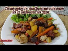 CARNE GUISADA con la carne sobrante de la Barbacoa de ayer - YouTube Chorizo, Carne, Potato Salad, Potatoes, Chicken, Meat, Ethnic Recipes, Youtube, Food