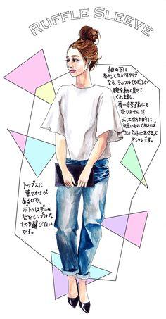 oookickooo きくちあつこ イラスト ファッション ラッフルスリーブ フリルスリーブ 夏コーデ 大人なコーデ コーディネート Ruffle sleeve 組み合わせ スタイルハウス STYLE HAUS ほぼ日手帳 Web Design, Sketch Design, Fashion Line, Love Fashion, Fashion Collage, Japan Fashion, Fashion Sketches, My Style, Illustration