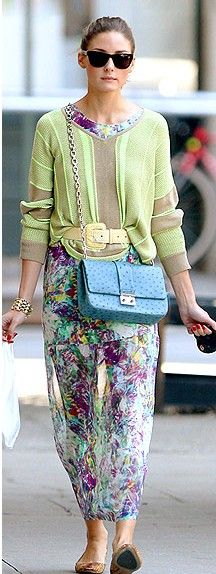 olivia palermo - sweater over dress tucked in the front   i wouldn't wear this exact thing but i love the color combination