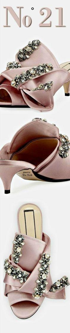 No° 21 Jeweled Satin Sandal