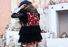 #Coat #Dress #Fur #Boho #Gipsy #Ethnic #Embroidery #Tribal #Fringe Tete By Odette