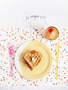 A girly brunch with punch, a waffle/prosciutto sandwich, and boozy syrup.