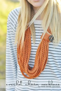 crochet chain necklace {free pattern}