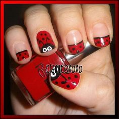 New Ideas nails art spring lady bug Fingernail Designs, Toe Nail Designs, Nail Art Coccinelle, Red Nails, Hair And Nails, Pastel Nails, Cute Nails, Pretty Nails, Ladybug Nails