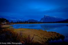 Serene Alpine Lake during the blue hour.