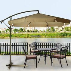 9ft Out Door Deck Patio Umbrella Off Set Tilt Cantilever Hanging Canopy  Apricot #Ancheer