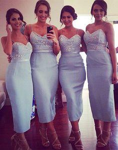 2016 bridesmaid dress, light bridesmaid dress, sexy bridesmaid dress, sheath…