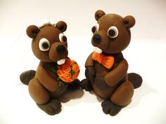 Beaver Wedding Cake Topper  Choose Your Colors by topofthecake, $55.00