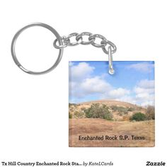 Tx Hill Country Enchanted Rock State Natural Area Double-Sided Square Acrylic Keychain