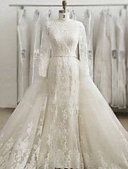 Trumpet+/+Mermaid+Wedding+Dress+Two-In-One+Wedding+Dresses+Sweep+/+Brush+Train+Bateau+Lace+/+Tulle+with+Appliques+–+GBP+£+397.70