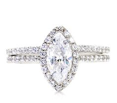Marquise Moissanite Wedding Set Engagement Ring by RareEarth