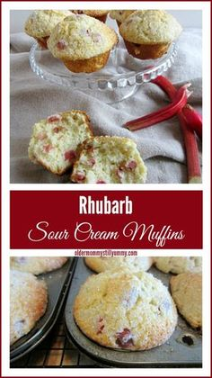 Rhubarb Sour Cream Muffins - Its Rhubarb Season And These Delicious Muffins Are Perfect For Breakfast Or A Snack Muffin Recipes, Baking Recipes, Dessert Recipes, Dessert Salads, Crepe Recipes, Rhubarb Desserts, Rhubarb Cookies, Rhubarb Bread, Rhubarb Kuchen Bars