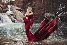 The ORIGINAL Slim Fit Maternity Gown as seen on Jennifer Stano, Pregnancy Corner, and Encore Magazine - BUT - with Off the shoulder long sleeves! This Fabulous Emerlie Gown is a slim fitted gown with