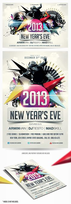 New Years Eve Party Flyer Template Is a modern psd flyer perfect for ...