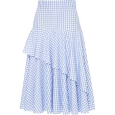 Flow The Label High Waisted Ruffle Skirt ($305) ❤ liked on Polyvore featuring skirts, blue, high-waist skirt, flouncy skirt, frilled skirt, blue high waisted skirt and flounce skirt