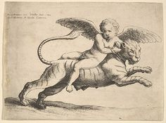 Cupid on a Tiger by Wenceslaus Hollar (Wenzel Vaclav) Bohemian, 1552, Etching MET Access.N.: 17.50.18-115