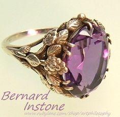 Arts Crafts Bernard Instone Antique Sterling Silver Amethyst Ring c.1910