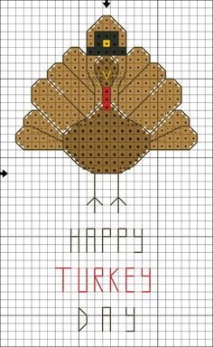 Free Happy Turkey Day Cross Stitch Pattern: Free Happy Turkey Day Color Symbol Cross Stitch Pattern from  #crossstitch about.com http://crossstitch.about.com/od/variousholidaypatterns/ig/Free-Happy-Turkey-Day-Pattern/Happy-Turkey-Day-Motif-Chart.htm   Happy Turkey Day #Thanksgivng #turkeypattern  Other patterns include thanksgiving characters pilgrims gratitude quote and more:  http://crossstitch.about.com/od/variousholidaypatterns/tp/Free_Thanksgiving_Patterns.htm