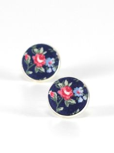 Flower Stud Earrings  Roses On Blue by PatchworkMillJewelry