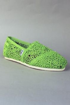 Toms shoes Crochet Women Classic in Neon Green