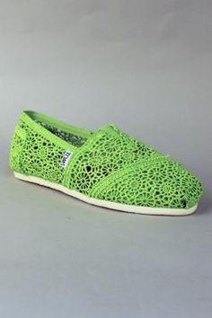 Toms shoes Crochet Women Classic in Neon Green