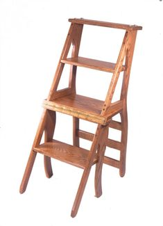 Wooden Library Step Stool Chair - Amish Furniture