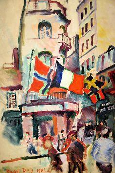 Raoul Dufy - July 14 in Le Havre at National Art Gallery Washington DC Georges Braque, Monet, Art Fauvisme, Maurice De Vlaminck, André Derain, Raoul Dufy, National Art, Le Havre, Post Impressionism