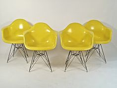 """It would be great to find these: Eames Sunshine Yellow """"DAR"""" Arm Shells Brown Leather Recliner, Leather Recliner Chair, Chairs For Rent, Chairs For Sale, 1960s Interior, Eames Chairs, Bar Chairs, Room Chairs, Charles Eames"""