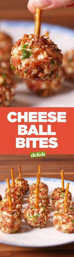 Ball Bites These cheese ball bites > a boring cheese platter. Get the recipe on .These cheese ball bites > a boring cheese platter. Get the recipe on . Fingerfood Recipes, Appetizer Recipes, Delicious Appetizers, Appetizer Ideas, Sandwich Recipes, Delicious Recipes, Sweet Recipes, Tapas, Finger Food Appetizers