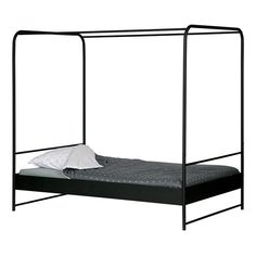 Small Double Black Metal Four Poster Bed - Woood | Cuckooland