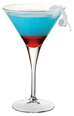 Bomb Pop martini  2oz Bacardi Razz, 2oz Blue Curacao, 2 oz lemonade, capful of grenadine!  Shake Razz, Curacao and lemonade w/ice. Pour. Slowly pour a capful of grenadine down the side so it settles at bottome...YUM! Happy 4th!