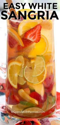 Cocktails & Drinks - Easy White Sangria - Spend With Pennies Best White Sangria Recipe, Peach Sangria Recipes, Mango Sangria, Moscato Sangria, White Peach Sangria, Sparkling Sangria, Strawberry Sangria, White Wine Sangria, Summer Sangria