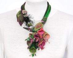 Necklace | Dans mon corbillon Designs. Felted wool, polymer clay and lampwork beads