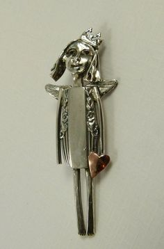 Up Cycled Sterling Silver, Up Cycled Sterling Silverware, Brass, And PMC - Pendant